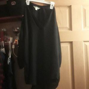 Sheer black v-neck blouse